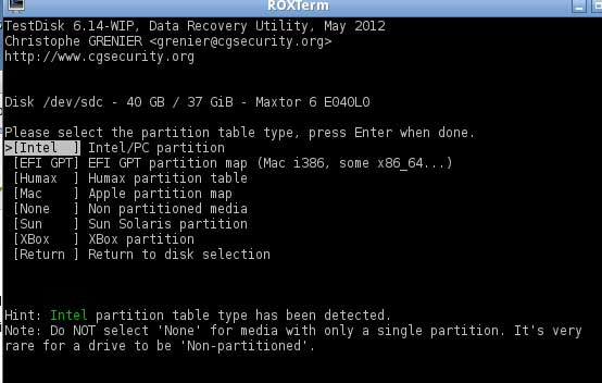 Repair partition table and boot sector